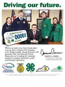 Kelsey, State Secretary and Greg Wood, State President were photoed in support of the Ag Tag Promotion that supports Kentucky 4-H, Kentucky FFA and Kentucky Proud.