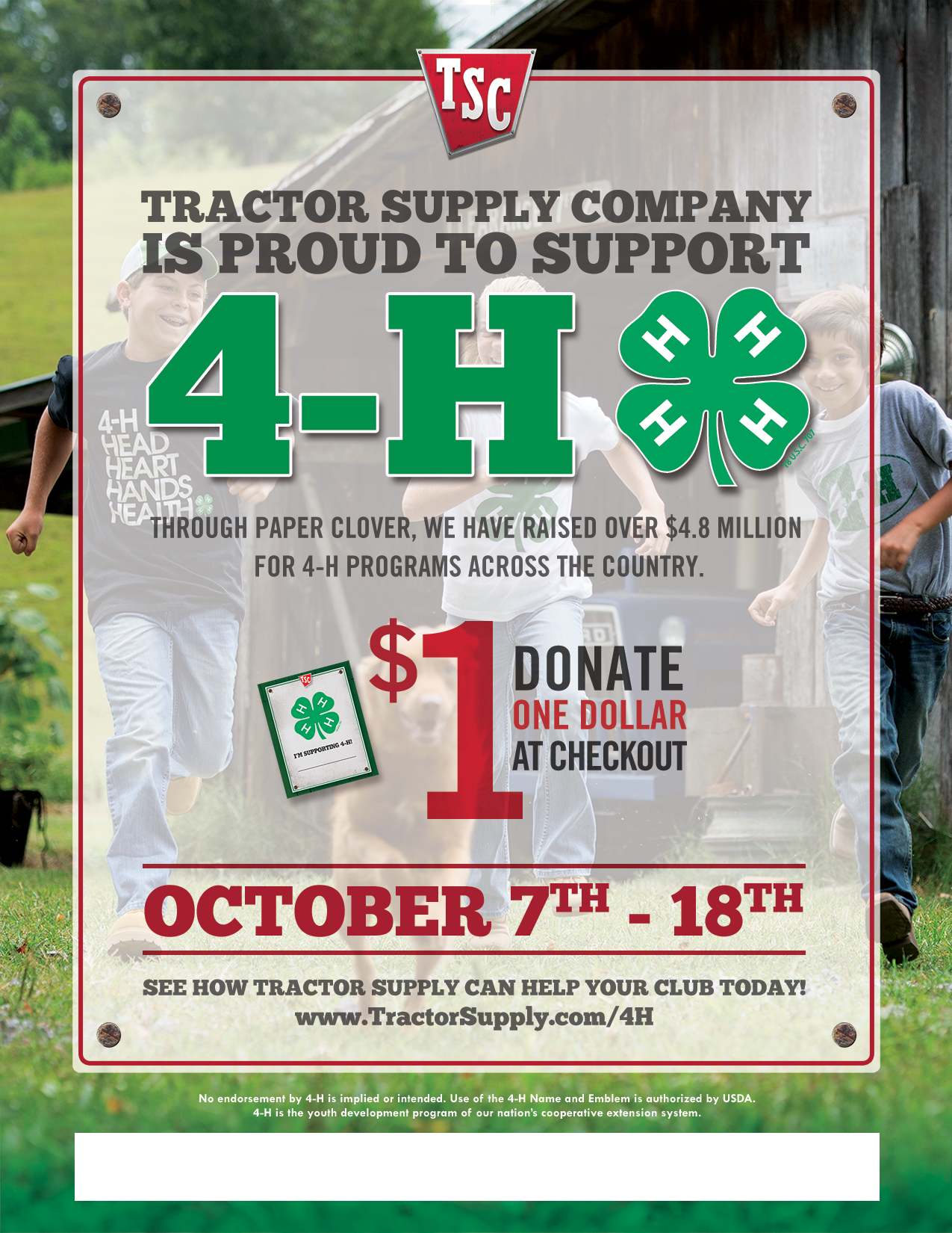 Tractor Supply Company Fall Paper Clover Campaign Is October